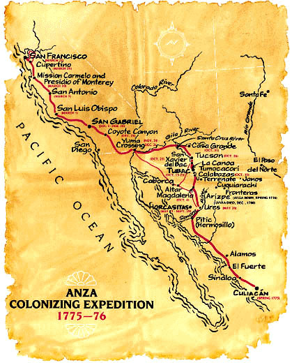 de Anza Expedition Map  Courtesy of webdeAnza at uoregon.org