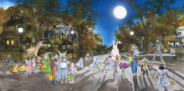 Illustration of children trick-or-treating in 'Zen Ghosts.'